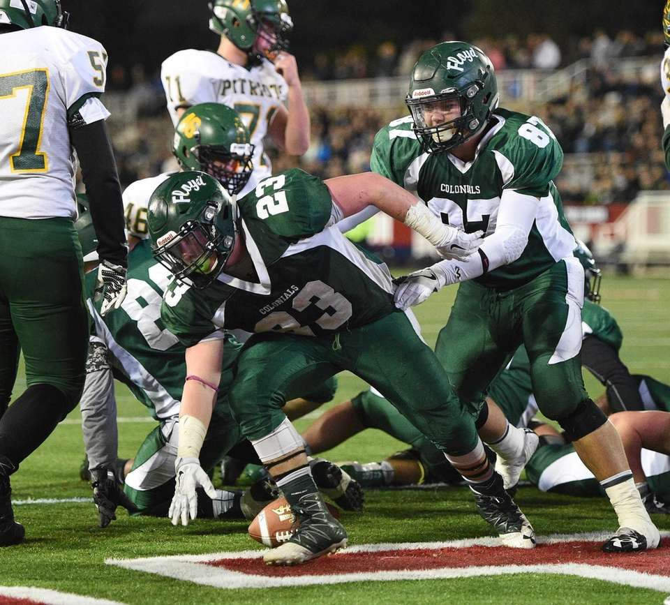 William Floyd running back Nick Silva reacts after