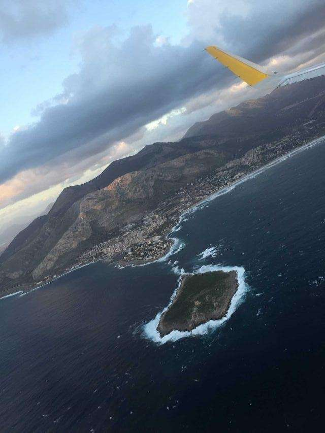 Minutes before landing in Palermo, Sicily.
