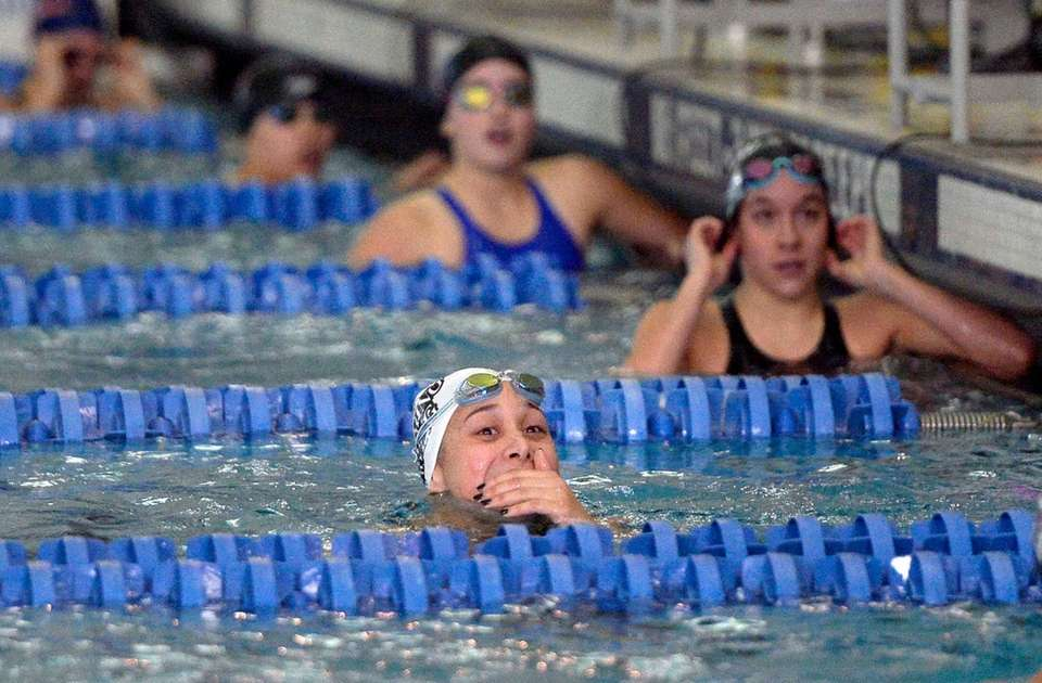 Long Beach's Kristen Romano reacts to her state