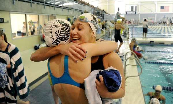 Long Beach's Kristen Romano is congratulated on her