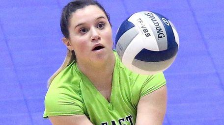 East Rockaway's Amanda Barbaro gets the dig during