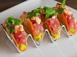 Ahi tacos are among the menu items at