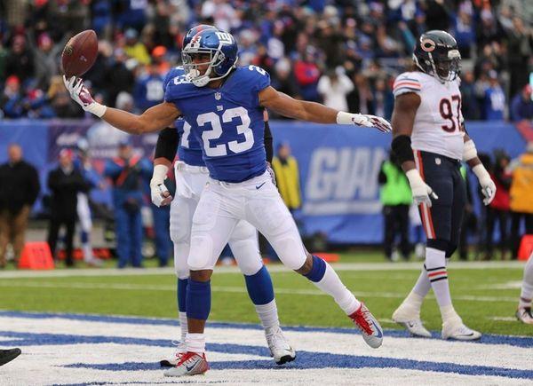 New York Giants running back Rashad Jennings (23)
