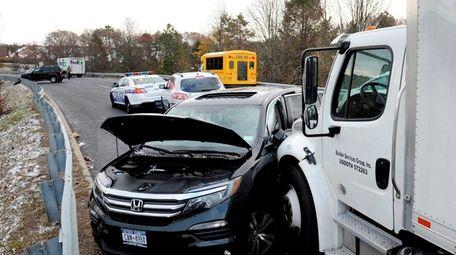 The scene of a multi-vehicle crash on the