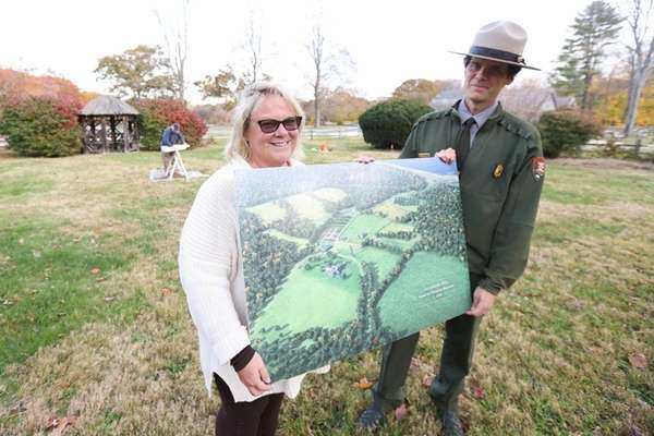 Susan Sarna, left, Sagamore Hill supervisory museum curator,
