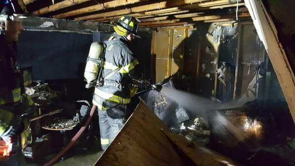 The Melville Fire Department needed about a half-hour