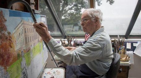 Painter Mort Küntsler works in his Cove Neck