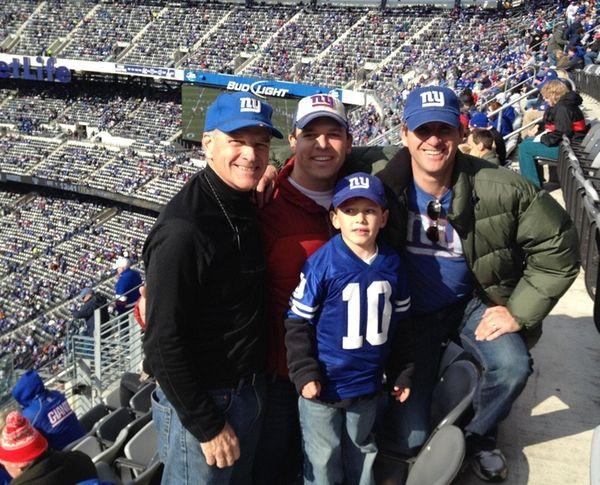 From left, James Riordan, son-in-law Steve Carew, grandson