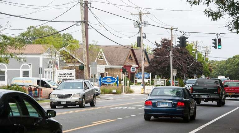 View of Montauk Highway at the intersection with