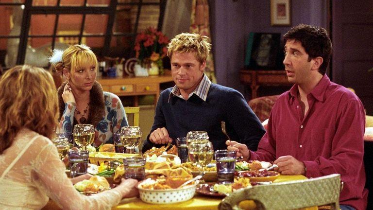 Brad Pitt, center right, talks turkey in a