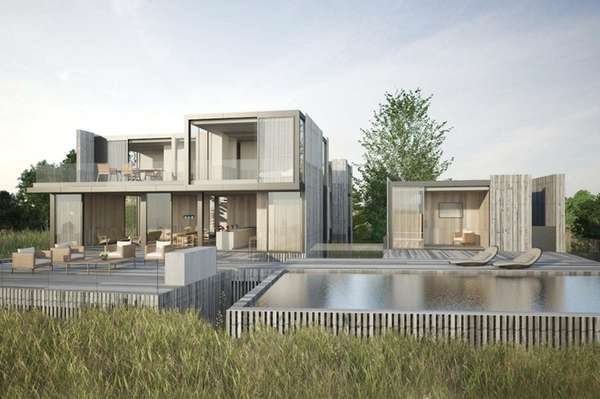 A rendering shows a Sagaponack modern-style home expected