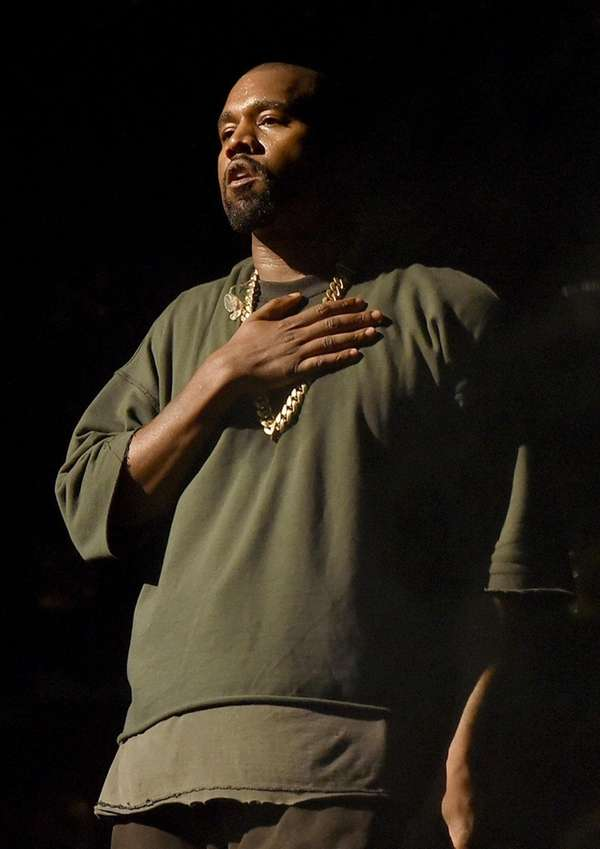 Kanye West performs at the 2015 iHeartRadio Music