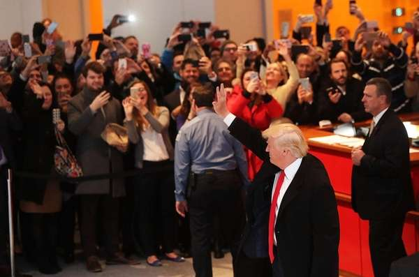 President-elect Donald Trump greets the crowd as he