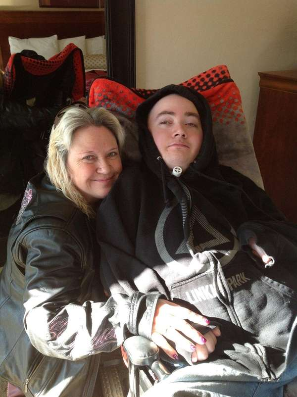 Brandon Maxfield with his mother Sue Stansberry