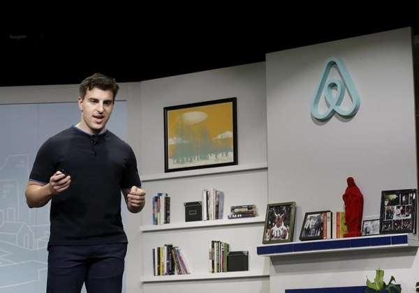 Airbnb co-founder and CEO Brian Chesky speaks during