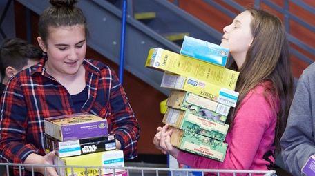 Jenna Marino, 11, of Hauppauge, right, and Emily