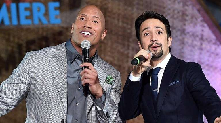 Dwayne Johnson, left, and Lin-Manuel Miranda have teamed