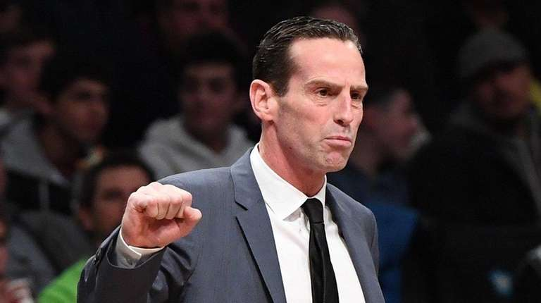 Brooklyn Nets head coach Kenny Atkinson looks on