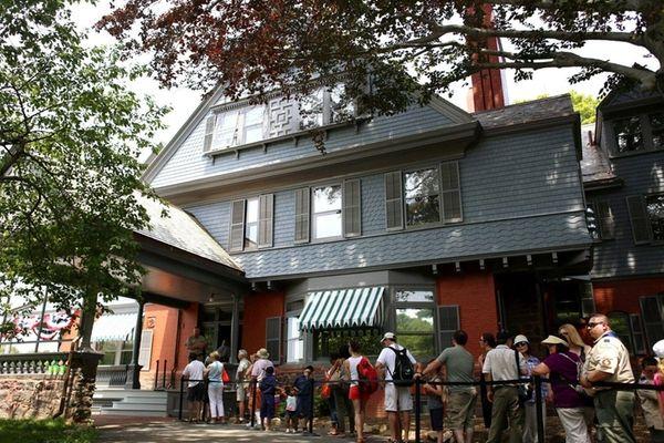 Visitors line up on July 12, 2015, for