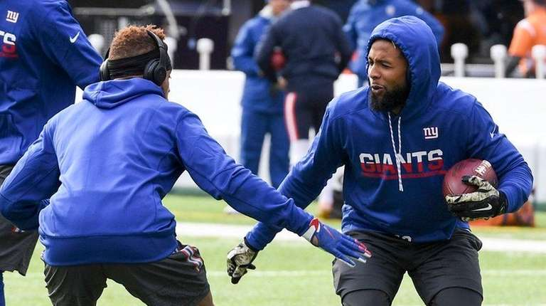 Odell Beckham and Roger Lewis of the Giants