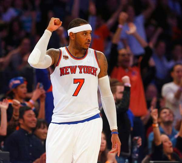 Carmelo Anthony of the New York Knicks reacts