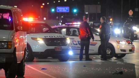 Nassau County police at the scene where a
