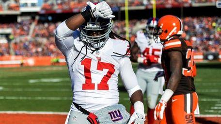 New York Giants wide receiver Dwayne Harris celebrates
