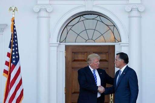 President-elect Donald Trump with Mitt Romney as Romney