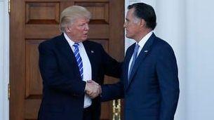 President-elect Donald Trump with Mitt Romney as Romney