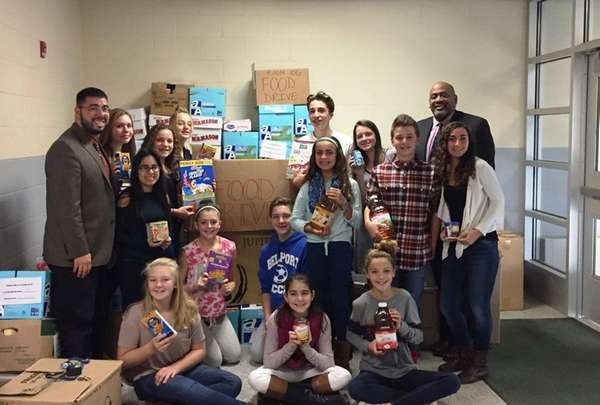 Bellport Middle School students collected 3,397 food items