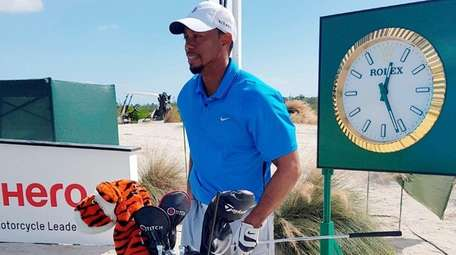 Tiger Woods is pictured ahead of a training