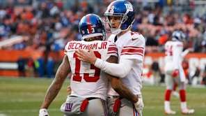 New York Giants wide receiver Odell Beckham celebrates