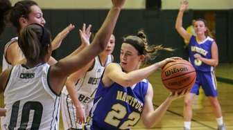 Mattituck's Corrine Reda (22) looks for an opening
