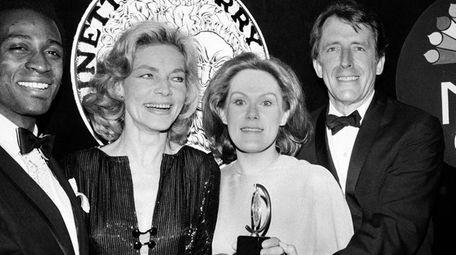 From left, Tony winners Cleavon Little, Lauren Bacall,