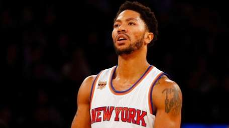 Derrick Rose of the Knicks reacts after a