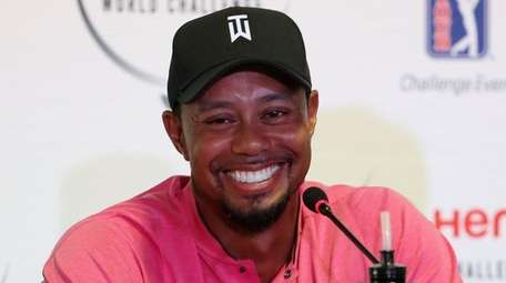Tiger Woods speaks at a press conference ahead