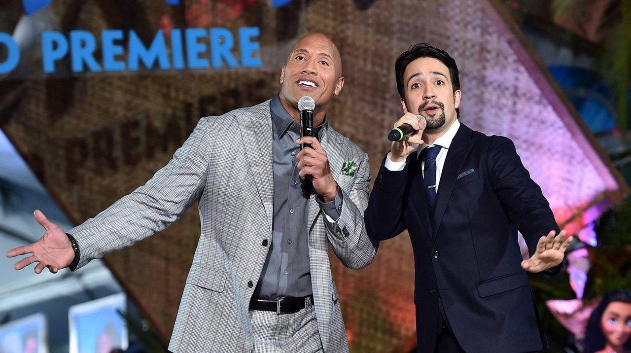 Dwayne Johnson, left, and Lin-Manuel Miranda worked together