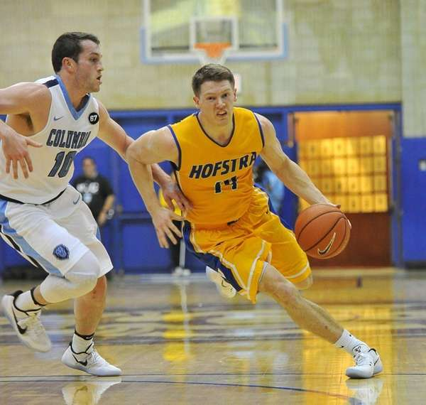 Brian Bernardi of Hofstra drives to the basket