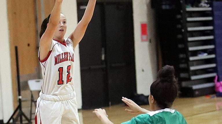 Miller Place's Kelli Ryan (20 points) shoots for