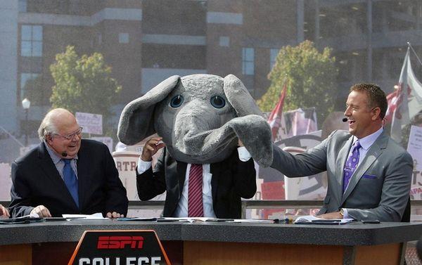 ESPN's Lee Corso wears Big Al's mascot head