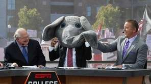 ESPN's Lee Corso wears Big Al's mascot head