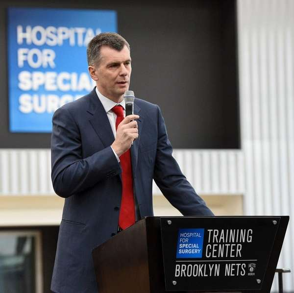 Brooklyn Nets owner Mikhail Prokhorov speaks during a