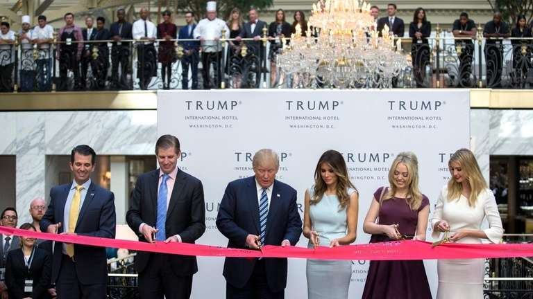 Donald Trump and his family at the