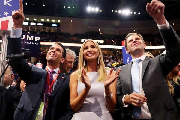 Donald Jr., Ivanka and Eric Trump, seen on