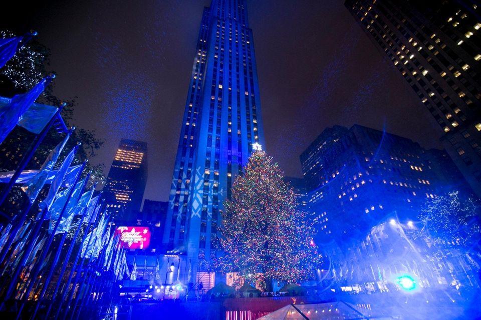 The Rockefeller Center Christmas tree is lit on