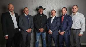 From left,  Bjorn Rebney, Georges St-Pierre, Donald Cerrone,