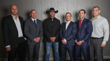 From left, Bjorn Rebney, Georges St-Pierre, Donald Cerrone,