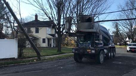 A cement truck hit low-hanging electrical wires on