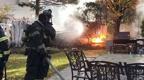 Westbury firefighters respond to a fire on Thursday,