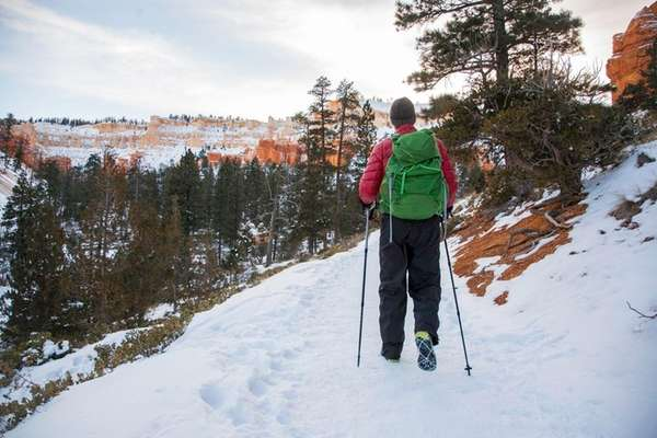 Enjoy a guided snowshoe hike at Bryce Canyon,
